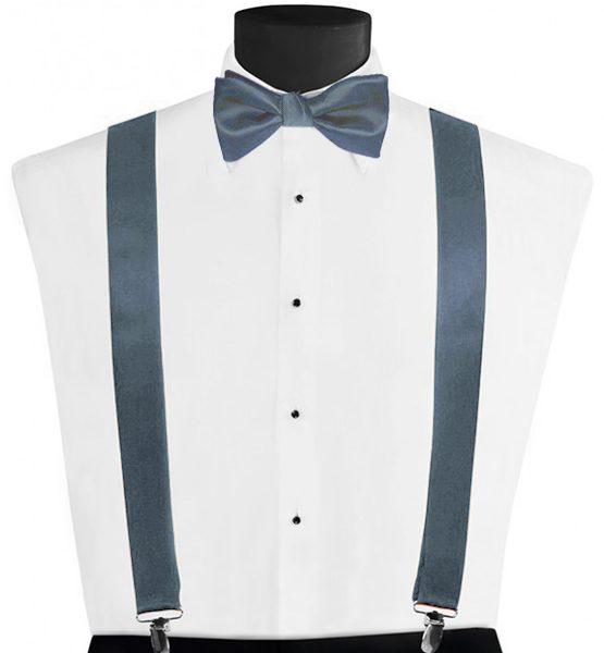 Larr Brio Modern Solid Desert Blue Suspenders